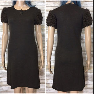 IKKS Brown Knit Wool Blend Dress